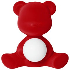 Red Velvet Teddy Bear Lamp with LED by Stefano Giovannoni, Made in Italy