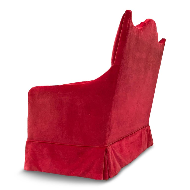 French Red Velvet Two-Seat Sofa by Yves Halard