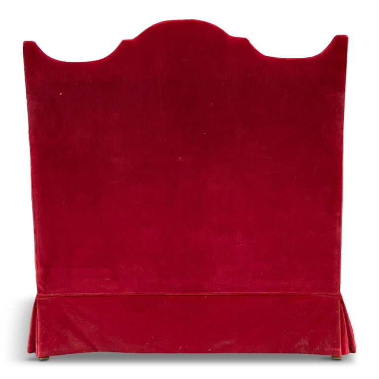 Red Velvet Two-Seat Sofa by Yves Halard In Good Condition In London, London