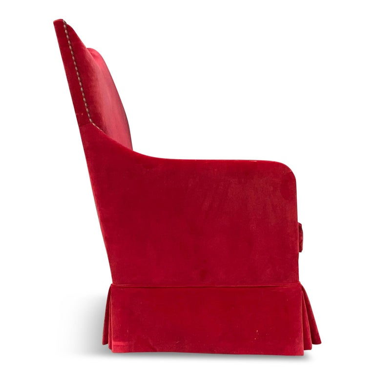 20th Century Red Velvet Two-Seat Sofa by Yves Halard