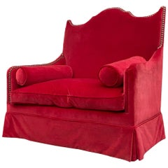 Red Velvet Two-Seat Sofa by Yves Halard