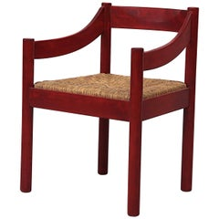 "Red Vico Magistretti, Attributed to ""Carimate"" Arm Chair with Rush Seat"