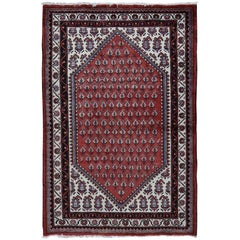 Red Vinatge Pure Wool Sarouk Mir with Boteh Design Hand Knotted Oriental Rug