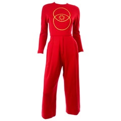Red Vintage 1980s Geoffrey Beene Jumpsuit With Gold Circle and Star Embroidery