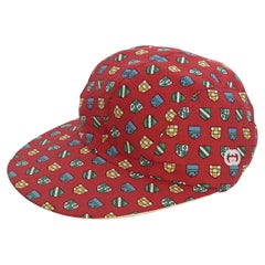 Red Vintage Gucci Cotton Shield Printed Baseball Hat