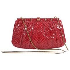 Red Vintage Judith Leiber Snakeskin Clutch