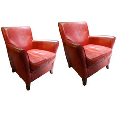 20th Century Red Vintage Leather Original Baxter Armchairs