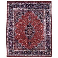 "Red Vintage Mashad Pure Wool Full Pile Hand Knotted Oriental Rug, 8'1"" x 10'5"""