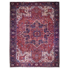 Red Vintage Oversized Persian Heriz Slight Wear Hand Knotted Wool Rug