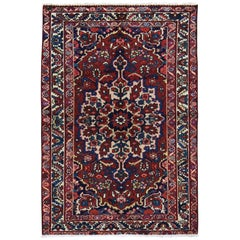 Red Vintage Persian Bakhtiari Even Wear Pure Wool Hand Knotted Oriental Rug