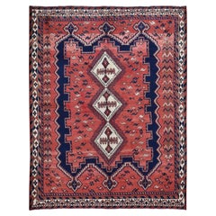 Red Vintage Persian Bakhtiari Full Pile Pure Wool Hand Knotted Oriental Rug