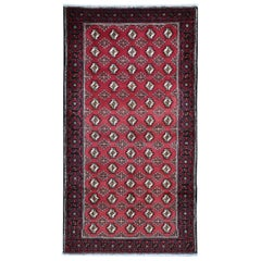 """Red Vintage Persian Baluch Geometric Design Hand Knotted Oriental Rug, 4'4""""x8'3"""""""