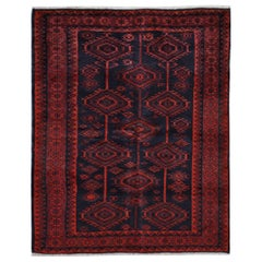 """Red Vintage Persian Baluch Geometric Design Hand Knotted Oriental Rug, 5'6""""x7'1"""""""