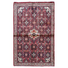 Red Vintage Persian Hamadan Clean Hand Knotted Pure Wool Oriental Rug