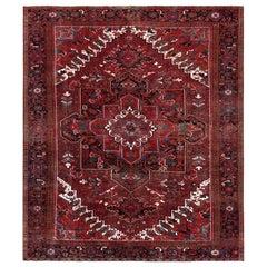 Red Vintage Persian Heriz Hand Knotted Organic Wool Oriental Rug
