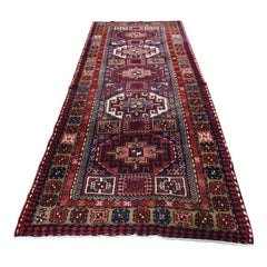 Red Vintage Persian Heriz Wide Runner with Caucasian Pure Wool Hand Knotted Orie