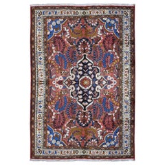 """Red Vintage Persian Lilihan Pure Wool Hand Knotted Oriental Rug , 5'0"""" x 7'6"""""""