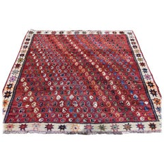 Red Vintage Persian Shiraz Pure Wool Hand Knotted Oriental Rug