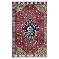Red Vintage Persian Tabriz Pure Wool Hand Knotted Oriental Rug