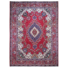 Red Vintage Persian Tabriz Some Wear Pure Wool Hand Knotted Oriental Rug