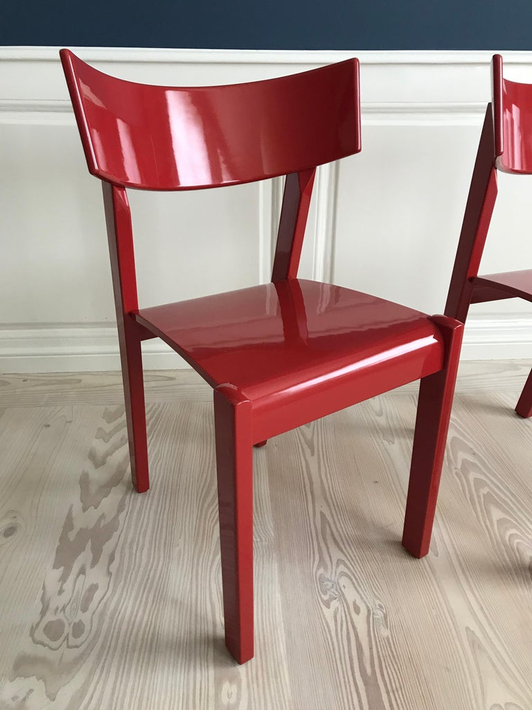 Red Vintage Ralf Lindberg Dining Chairs For Sale At 1stdibs