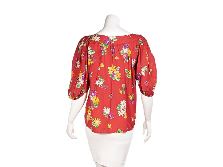 Saint Laurent Rive Gauche Red Floral-Printed Blouse In Good Condition For Sale In New York, NY