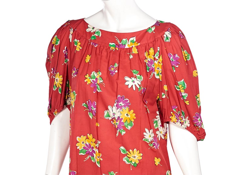 Women's Saint Laurent Rive Gauche Red Floral-Printed Blouse For Sale
