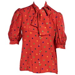Saint Laurent Rive Gauche Red Polka Dot-Patterned Blouse