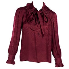 Saint Laurent Rive Gauche Red Silk Patterned Blouse