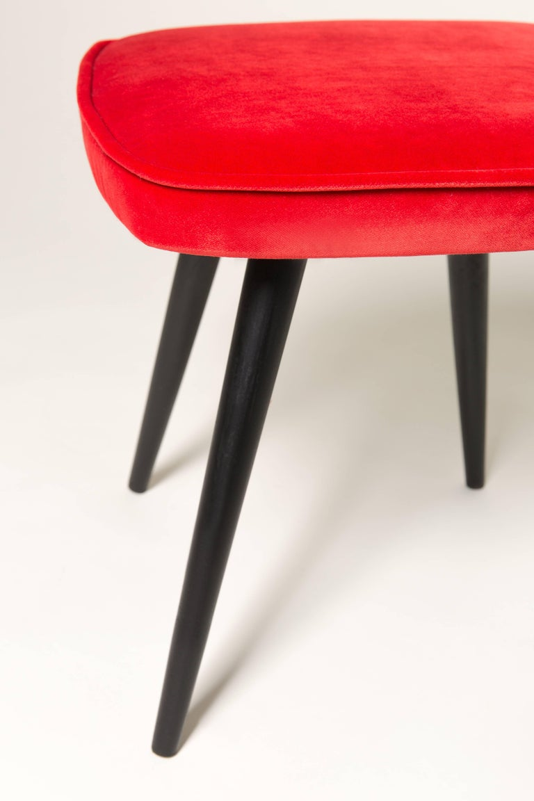 Mid-Century Modern Red Vintage Stool, 1960s For Sale