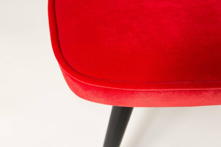 Polish Red Vintage Stool, 1960s For Sale