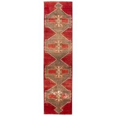 Red Vintage Turkish Geometric Wool Runner