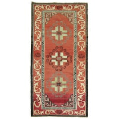 Red Vintage Turkish Rug Inspired by 19th Century Asian Khotan Rugs