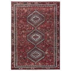 Red Vintage and Worn Down Geometric Design Persian Shiraz Handmade Rug