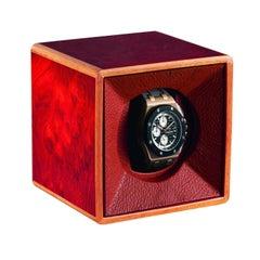 Roter Uhrenbeweger aus Holz und Leder von Agresti