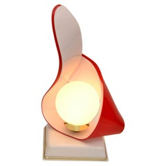 Red & White Acrylic Sculptural Table Lamp by Acrylic Design White Opaline Glass