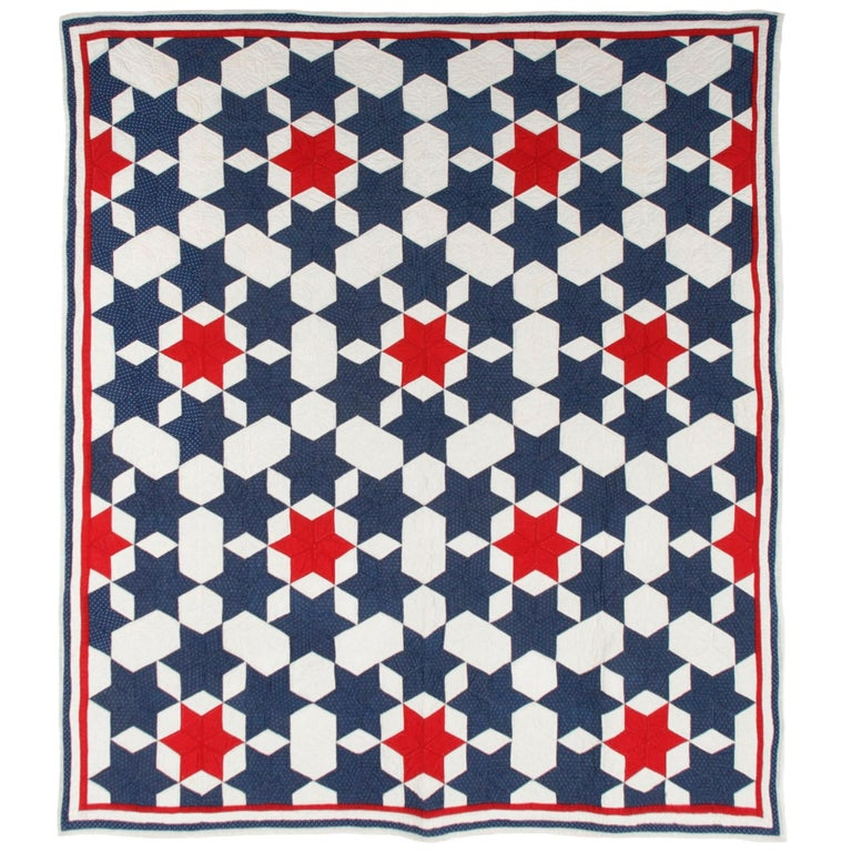 """Red, White, & Blue Calico """"Seven Sisters"""" Patriotic Star Quilt, circa 1890-1910 For Sale"""
