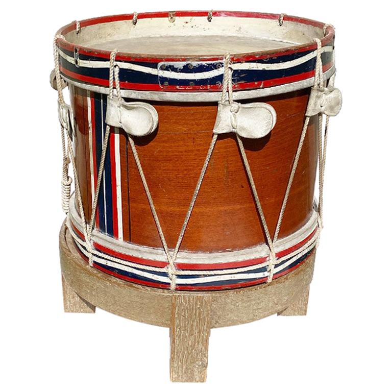 Red White and Blue Drum Side Table by Jack Brentnall, England For Sale