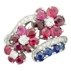 Red, White and Blue Ruby, Sapphire and Diamond Ring in Platinum, circa 1940s