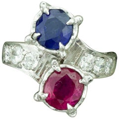 Red, White and Blue Sapphire, Ruby and Diamond Ring in White Gold, circa 1940s