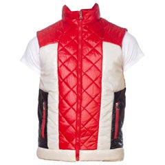 """1980S Red White & Blue Nylon """"S-Boy Fashion For Love"""" Shiny Quilted Puffer Vest"""