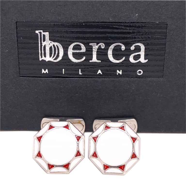 Chic yet Timeless Octagonal White and Red Hand Enamelled Sterling Silver Cufflinks, T-bar back. In our Smart Black Box and Pouch.  Front Diameter about 0.55 inches.
