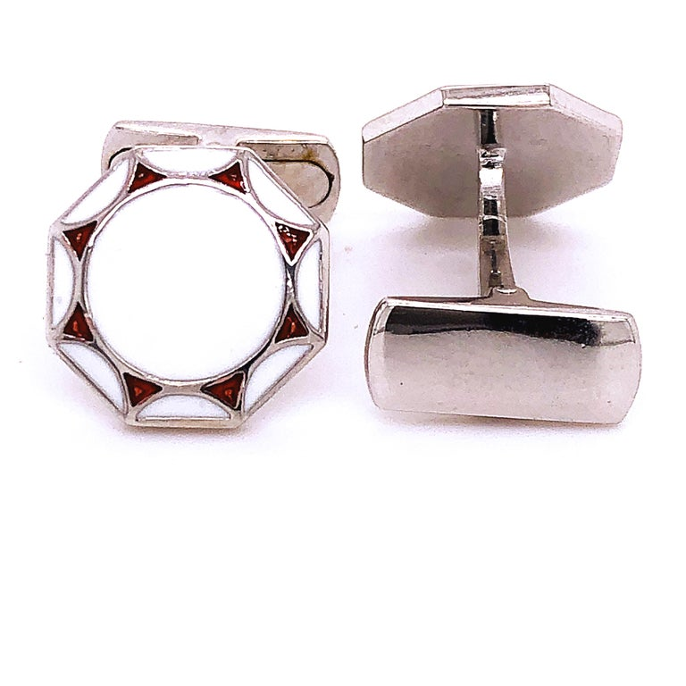 Men's Red White Hand Enameled Sterling Silver T-Bar Back Cufflinks For Sale