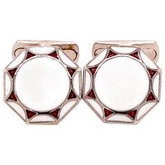 Berca Red White Hand Enameled Sterling Silver T-Bar Back Cufflinks