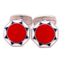 Berca Red White Navy Blue Hand Enameled Sterling Silver Cufflinks T-Bar Back