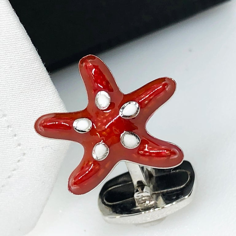 Unique and Chic Red and White Spotted Hand Enamelled Little Starfish Shaped T-Bar Back, Sterling Silver Cufflinks. In our smart black box.
