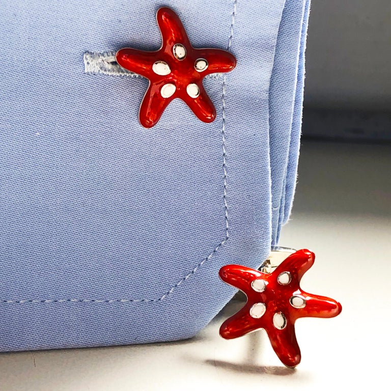 Contemporary Red White Spotted Hand Enameled Starfish Shaped Sterling Silver Cufflinks For Sale