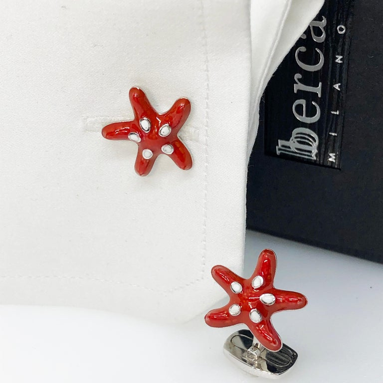 Red White Spotted Hand Enameled Starfish Shaped Sterling Silver Cufflinks For Sale 1