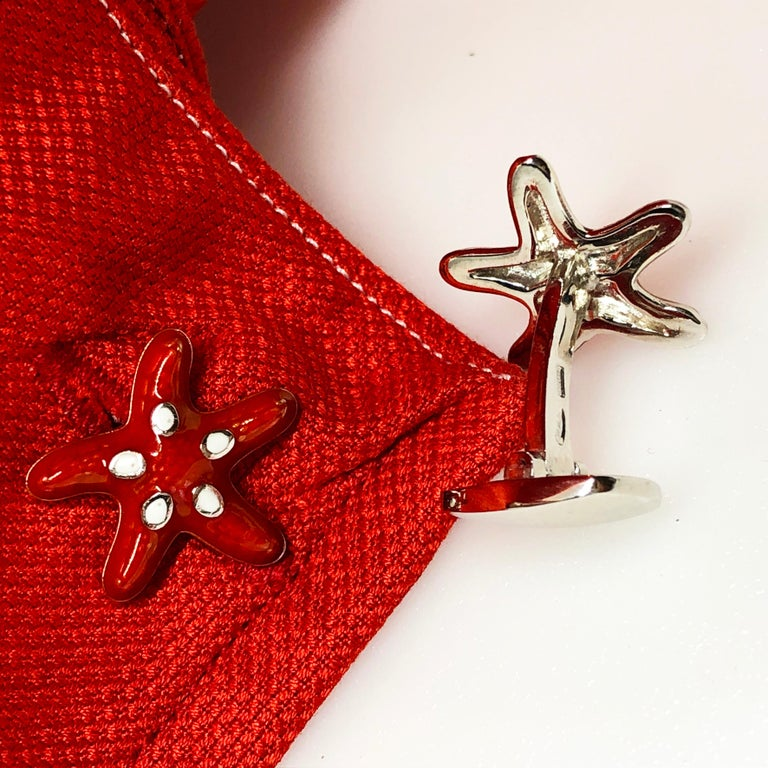 Red White Spotted Hand Enameled Starfish Shaped Sterling Silver Cufflinks For Sale 2