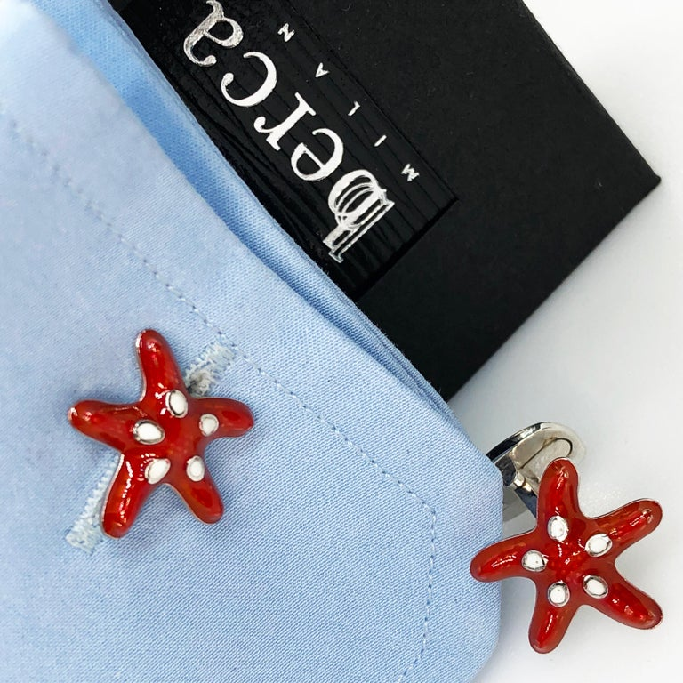 Red White Spotted Hand Enameled Starfish Shaped Sterling Silver Cufflinks For Sale 4
